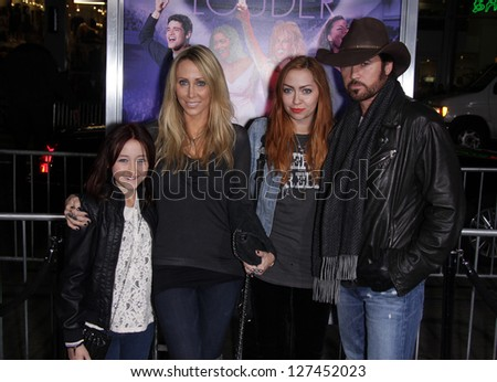 """LOS ANGELES - JAN 19:  BILLY RAY CYRUS & FAMILY arriving to """"Joyful Noise"""" Los Angeles Premeire  on January 19, 2012 in Hollywood, CA - stock photo"""