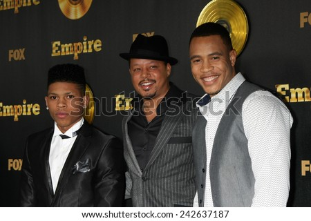 "LOS ANGELES - JAN 6:  Bryshere Gray, Terrence Howard, Trai Byers at the FOX TV ""Empire"" Premiere Event at a ArcLight Cinerama Dome Theater on January 6, 2014 in Los Angeles, CA - stock photo"