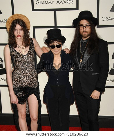 LOS ANGELES - JAN 26:  Charlotte Kemp Muhl, Yoko Ono and Sean Lennon  arrives at the 56th Annual Grammy Awards Arrivals  on January 26, 2014 in Los Angeles, CA                 - stock photo