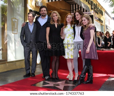 LOS ANGELES - JAN 29: Chris Parnell, Jeremy Sisto, Cheryl Hines, Jane Levy, Carly Chaikin, Allie Grant at the Hollywood WOFCeremony for Cheryl Hines  on January 29, 2014 in Los Angeles, CA - stock photo
