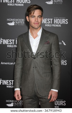 LOS ANGELES - JAN 25:  Chris Pine at the The Finest Hours World Premiere at the TCL Chinese Theater IMAX on January 25, 2016 in Los Angeles, CA - stock photo