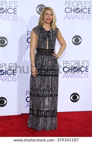 LOS ANGELES - JAN 6:  Claire Danes at the Peoples Choice Awards 2016 - Arrivals at the Microsoft Theatre L.A. Live on January 6, 2016 in Los Angeles, CA - stock photo