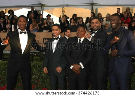 LOS ANGELES - JAN 30: Corey Hawkins, Neil Brown Jr., Jason Mitchell, O'Shea Jackson Jr., Aldis Hodge - 22nd Screen Actors Guild Awards at the Shrine Auditorium on January 30, 2016 in Los Angeles, CA - stock photo