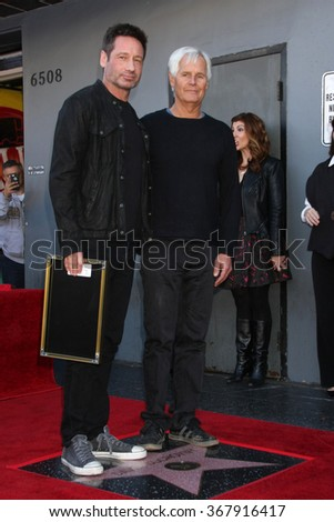 LOS ANGELES - JAN 25:  David Duchovny, Chris Carter at the David Duchovny Hollywood Walk of Fame Star Ceremony at the Fox Theater on January 25, 2016 in Los Angeles, CA - stock photo