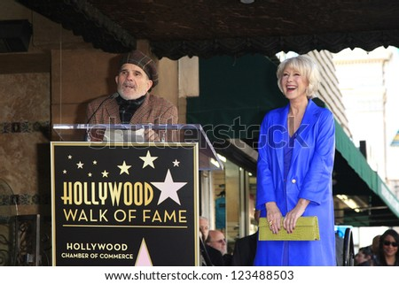 LOS ANGELES - JAN 3: David Mamet, Helen Mirren at a ceremony as Helen Mirren is honored with star on the Hollywood Walk of Fame on January 3, 2013 in Los Angeles, California - stock photo