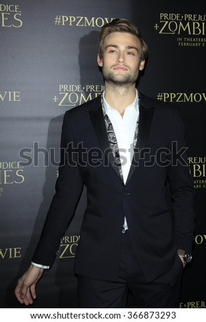 LOS ANGELES - JAN 21:  Douglas Booth at the Pride And Prejudice And Zombies Premiere at the Harmony Gold Theatre on January 21, 2016 in Los Angeles, CA - stock photo
