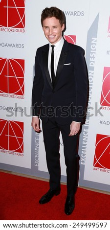 LOS ANGELES - JAN 31:  Eddie Redmayne at the 19th Annual Art Directors Guild Excellence in Production Design Awards at a Beverly Hilton Hotel on January 31, 2015 in Beverly Hills, CA - stock photo
