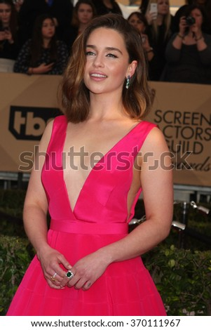 LOS ANGELES - JAN 30:  Emilia Clarke at the 22nd Screen Actors Guild Awards at the Shrine Auditorium on January 30, 2016 in Los Angeles, CA - stock photo