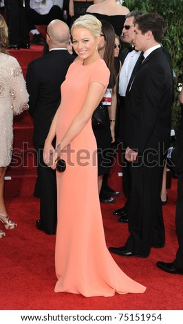 LOS ANGELES - JAN 16:  Emma Stone arrives to the 68th Annual Golden Globe Awards  on January 16, 2011 in Beverly Hills, CA - stock photo