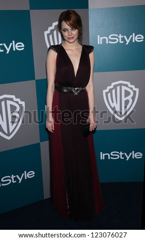 LOS ANGELES - JAN 15: Emma Stone arriving to Golden Globes 2012 After Party: WB / In Style  on January 15, 2012 in Beverly Hills, CA - stock photo