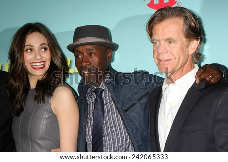 LOS ANGELES - JAN 5:  Emmy Rossum, Don Cheadle, William H Macy at the Showtime Celebrates All-New Seasons Comedies at Cecconi's on January 5, 2014 in West Hollywood, CA - stock photo