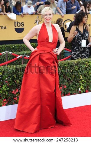 LOS ANGELES - JAN 25:  Gwendoline Christie at the 2015 Screen Actor Guild Awards at the Shrine Auditorium on January 25, 2015 in Los Angeles, CA - stock photo