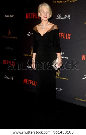 LOS ANGELES - JAN 10:  Helen Mirren at the Weinstein Company & Netflix 2016 Golden Globe After Party at the Beverly Hilton on January 10, 2016 in Beverly Hills, CA - stock photo