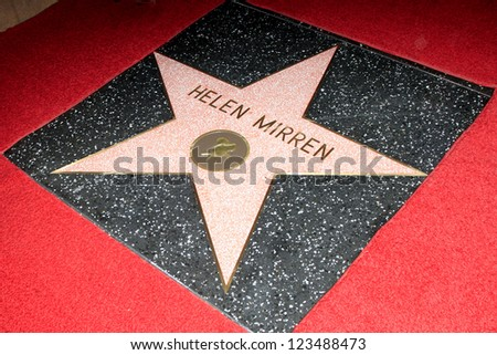 LOS ANGELES - JAN 3: Helen Mirren star at a ceremony as Helen Mirren is honored with star on the Hollywood Walk of Fame on January 3, 2013 in Los Angeles, California - stock photo