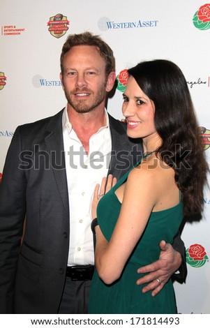 LOS ANGELES - JAN 5:  Ian Ziering, Erin Kristine Ludwig at the BCS National Championship Party at Pasadena Convention Center on January 5, 2014 in Pasadena, CA - stock photo