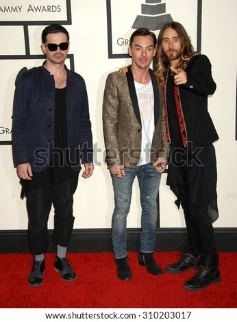 LOS ANGELES - JAN 26:  Jared Leto and Thirty Seconds To Mars arrives at the 56th Annual Grammy Awards Arrivals  on January 26, 2014 in Los Angeles, CA                 - stock photo