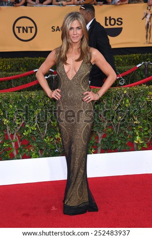 LOS ANGELES - JAN 25:  Jennifer Aniston arrives to the 21st Annual Screen Actors Guild Awards  on January 25, 2015 in Los Angeles, CA                 - stock photo