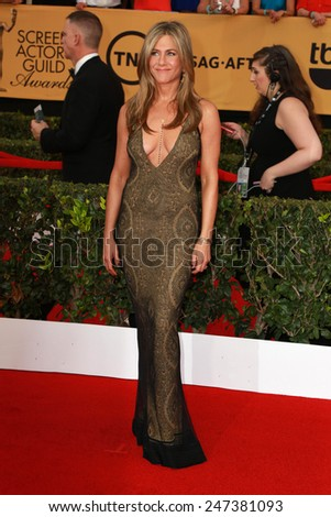 LOS ANGELES - JAN 25:  Jennifer Aniston at the 2015 Screen Actor Guild Awards at the Shrine Auditorium on January 25, 2015 in Los Angeles, CA - stock photo