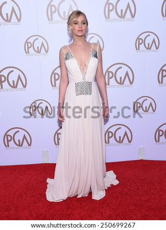 LOS ANGELES - JAN 24:  Jennifer Lawrence arrives to the 26th Annual Producers Guild Awards  on January 24, 2015 in Century City, CA                 - stock photo