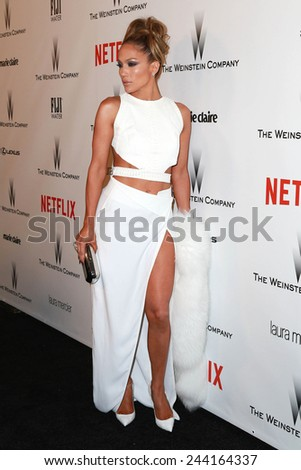 LOS ANGELES - JAN 11:  Jennifer Lopez at the The Weinstein Company / Netflix Golden Globes After Party at a Beverly Hilton Adjacent on January 11, 2015 in Beverly Hills, CA - stock photo