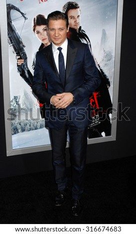 LOS ANGELES - JAN 24 - Jeremy Renner arrives at the Hansel and Gretel Witch Hunters Los Angeles Premiere on January 24, 2013 in Hollywood, CA              - stock photo