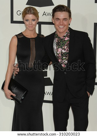 LOS ANGELES - JAN 26:  Jesse McCartney and Katie Peterson arrives at the 56th Annual Grammy Awards Arrivals  on January 26, 2014 in Los Angeles, CA                 - stock photo