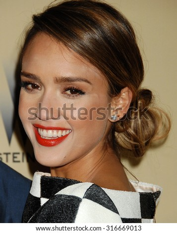 LOS ANGELES - JAN 13 - Jessica Alba arrives at the 2013 Weinstein Company Golden Globes After Party  on January 13, 2013 in Beverly Hills, CA              - stock photo