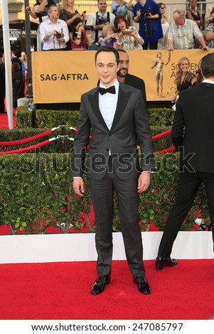LOS ANGELES - JAN 25:  Jim Parsons at the 2015 Screen Actor Guild Awards at the Shrine Auditorium on January 25, 2015 in Los Angeles, CA - stock photo