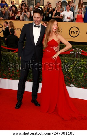 LOS ANGELES - JAN 25:  Joe Manganiello, Sofia Vergara at the 2015 Screen Actor Guild Awards at the Shrine Auditorium on January 25, 2015 in Los Angeles, CA - stock photo
