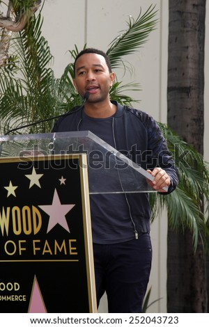 LOS ANGELES - JAN 28:  John Legend at the Ken Ehrlich Hollywood Walk of Fame Star Ceremony at a Capital Records Building on January 28, 2015 in Los Angeles, CA - stock photo