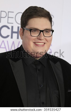 LOS ANGELES - JAN 6:  Jordan Smith at the Peoples Choice Awards 2016 - Arrivals at the Microsoft Theatre L.A. Live on January 6, 2016 in Los Angeles, CA - stock photo