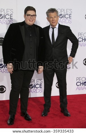 LOS ANGELES - JAN 6:  Jordan Smith, Daivd Foster at the Peoples Choice Awards 2016 - Arrivals at the Microsoft Theatre L.A. Live on January 6, 2016 in Los Angeles, CA - stock photo