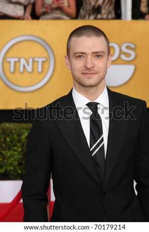 LOS ANGELES - JAN 30:  Justin Timberlake arrives at the 2011 Screen Actors Guild Awards  at Shrine Auditorium on January 30, 2011 in Los Angeles, CA - stock photo