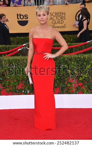 LOS ANGELES - JAN 25:  Kaley Cuoco arrives to the 21st Annual Screen Actors Guild Awards  on January 25, 2015 in Los Angeles, CA                 - stock photo