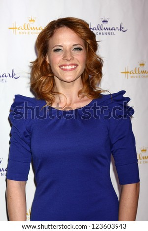 LOS ANGELES - JAN 4:  Katie Leclerc arrives at the Hallmark Channel 2013 Winter TCA Party. at Huntington Library & Gardens on January 4, 2013 in San Marino, CA - stock photo