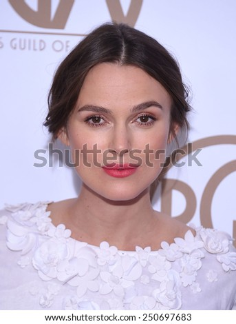 LOS ANGELES - JAN 24:  Keira Knightley arrives to the 26th Annual Producers Guild Awards  on January 24, 2015 in Century City, CA                 - stock photo