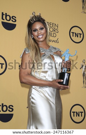 LOS ANGELES - JAN 25:  Laverne Cox at the 2015 Screen Actor Guild Awards at the Shrine Auditorium on January 25, 2015 in Los Angeles, CA - stock photo