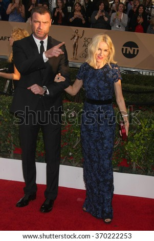 LOS ANGELES - JAN 30:  Liev Schreiber, Naomi Watts at the 22nd Screen Actors Guild Awards at the Shrine Auditorium on January 30, 2016 in Los Angeles, CA - stock photo