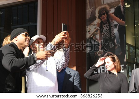 LOS ANGELES - JAN 21:  LL Cool J, Russell Simmons at the LL Cool J Hollywood Walk of Fame Ceremony at the Hollywood and Highland on January 21, 2016 in Los Angeles, CA - stock photo