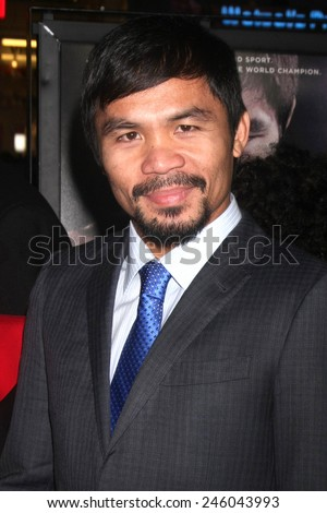 "LOS ANGELES - JAN 20:  Manny Pacquiao at the ""Manny"" Los Angeles Premiere at a TCL Chinese Theater on January 20, 2015 in Los Angeles, CA - stock photo"