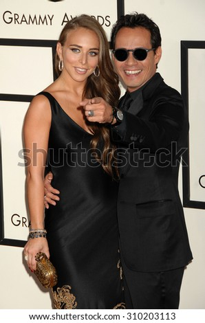 LOS ANGELES - JAN 26:  Marc Anthony and Chloe Green arrives at the 56th Annual Grammy Awards Arrivals  on January 26, 2014 in Los Angeles, CA                 - stock photo