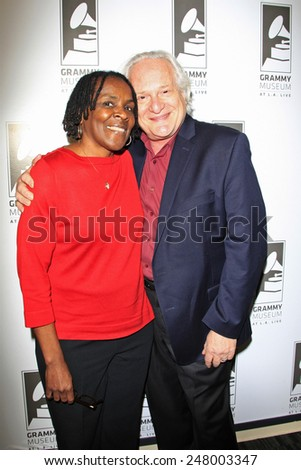 LOS ANGELES - JAN 28: Marcia Thomas, Paul Brownstein at the 30th Anniversary of 'We Are The World' at The GRAMMY Museum on January 28, 2015 in Los Angeles, California - stock photo