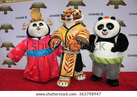 LOS ANGELES - JAN 16:  Mei Mei, Tigress, Animated Characters at the Kung Fu Panda 3 Premiere at the TCL Chinese Theater on January 16, 2016 in Los Angeles, CA - stock photo