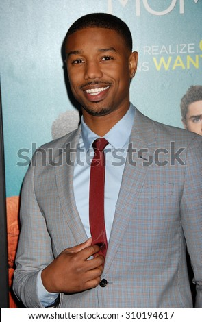 LOS ANGELES - JAN 27:  Michael B. Jordan arrives at the That Awkward Moment Los Angeles Premiere  on January 27, 2014 in Los Angeles, CA                 - stock photo