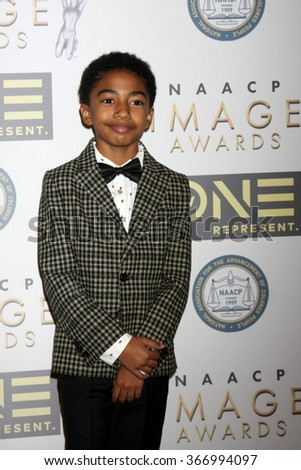 LOS ANGELES - JAN 23:  Miles Brown at the 47th NAACP Image Awards Nominees Luncheon at the Beverly Hilton Hotel on January 23, 2016 in Beverly Hills, CA - stock photo