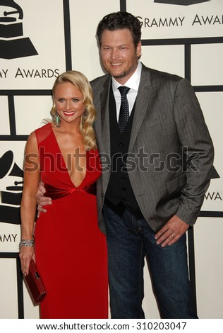 LOS ANGELES - JAN 26:  Miranda Lambert and Blake Shelton arrives at the 56th Annual Grammy Awards Arrivals  on January 26, 2014 in Los Angeles, CA                 - stock photo