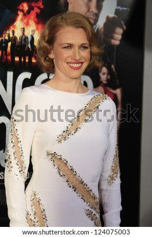 LOS ANGELES - JAN 7: Mireille Enos at Warner Bros. Pictures' 'Gangster Squad' premiere at Grauman's Chinese Theater on January 7, 2013 in Los Angeles, California - stock photo