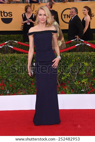 LOS ANGELES - JAN 25:  Naomi Watts arrives to the 21st Annual Screen Actors Guild Awards  on January 25, 2015 in Los Angeles, CA                 - stock photo