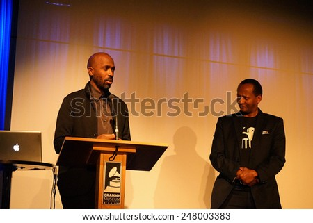 LOS ANGELES - JAN 28: Ntare Guma Mbaho Mwine, Eric Kabera at the 30th Anniversary of 'We Are The World' at The GRAMMY Museum on January 28, 2015 in Los Angeles, California - stock photo