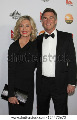LOS ANGELES - JAN 12:  Olivia Newton-John, John Easterling arrives at the 2013 G'Day USA Los Angeles Black Tie Gala at JW Marriott on January 12, 2013 in Los Angeles, CA.. - stock photo